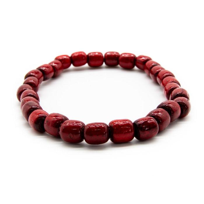 Ručno bojana crvena ogrlica od drvenih kuglica