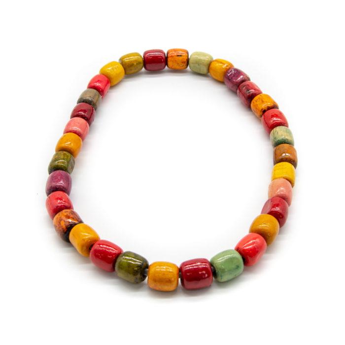 Ručno rađena ogrlica od drvenih kuglica šarenih boja
