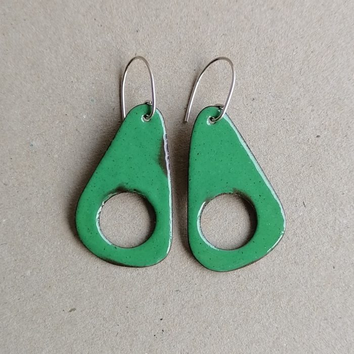 Zelene emajlirane naušnice